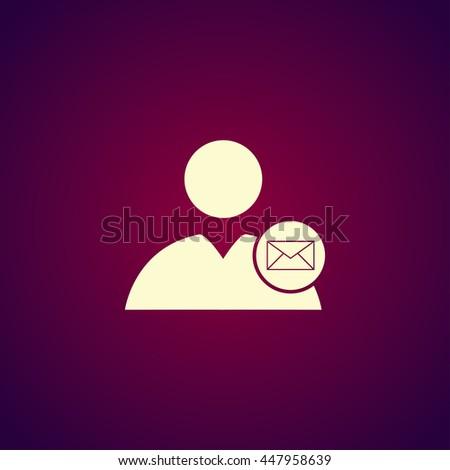User icon, Envelope Mail icon, illustration. Flat design style - stock photo