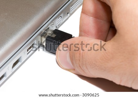 user plugging into the network - stock photo