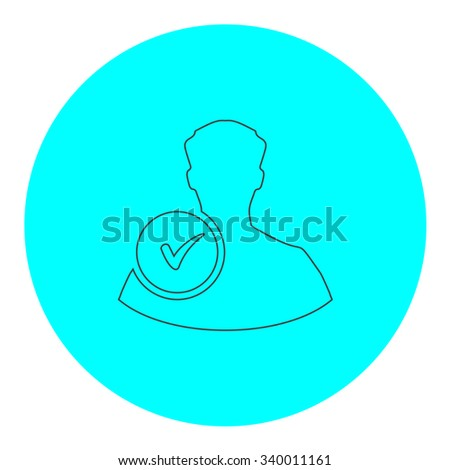 User profile web with check mark glyph. Black outline flat symbol on blue circle. Simple illustration pictograh on white background - stock photo