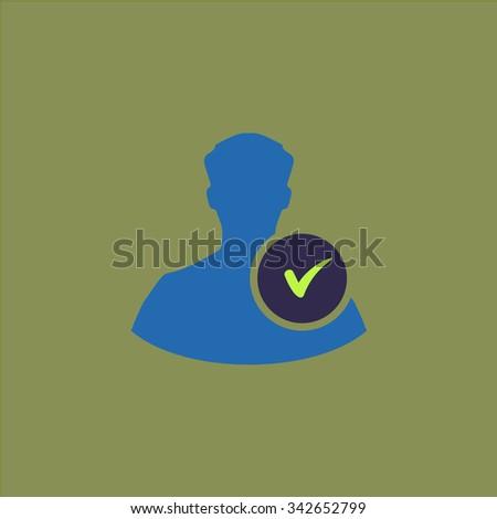 User profile web with check mark glyph. Colorful retro flat icon - stock photo