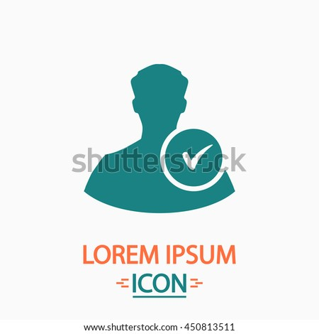 User profile web with check mark glyph. Flat icon on white background. Simple illustration - stock photo