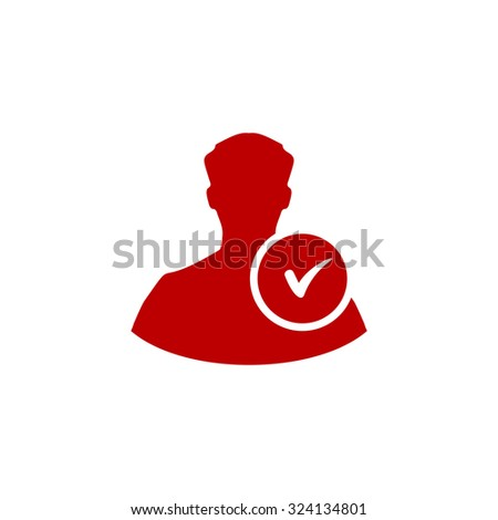 User profile web with check mark glyph. Red flat icon. Illustration symbol on white background - stock photo