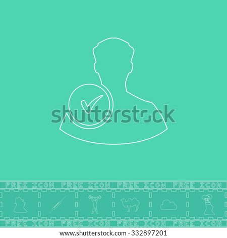 User profile web with check mark glyph. White outline flat icon and bonus symbol. Simple illustration pictogram on green background - stock photo