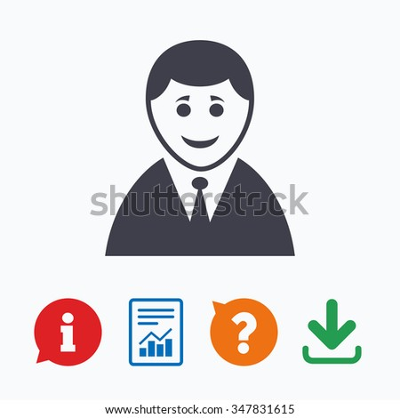 User sign icon. Person symbol. Human in suit avatar. Information think bubble, question mark, download and report. - stock photo