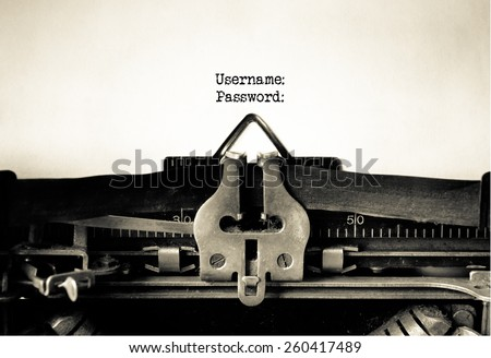 Username and Password written on vintage typewriter - stock photo