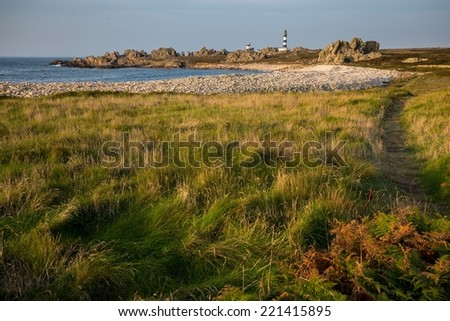 ushant island coastline landscape at the Pern point with the Creach lighthouse, Brittany, France - stock photo