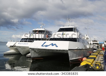 USHUAIA, ARGENTINA - APRIL 2, 2015: Cruise ship in Ushuaia harbor ready for Beagle Channel tour