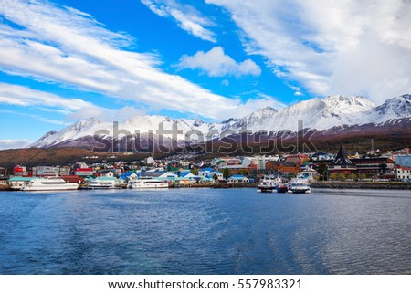 USHUAIA, ARGENTINA - APRIL 15, 2016: Ushuaia aerial view. Ushuaia is the capital of Tierra del Fuego province in Argentina.