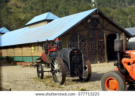 USHUAIA, ARGENTINA - FEBRUARY 5, 2015: Service garage and antique engine for the narrow gauge scenic railway from Ushuaia to Tierra del Fuego National Park