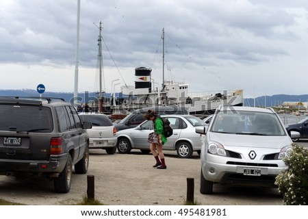 USHUAIA, ARGENTINA - NOVEMBER 17,2014: Quay Ushuaia - the southernmost city of the Earth.