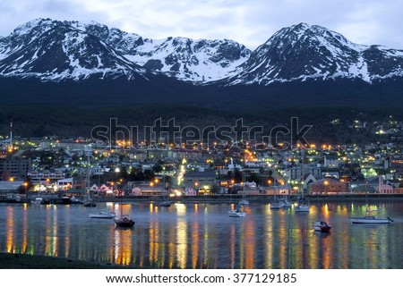 Ushuaia (Tierra del Fuego), land doomsday, night view from the port; Patagonia Argentina