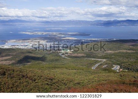 Ushuaia view from a nearby mountain. Argentina - stock photo
