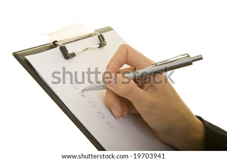 Using a clipboard - stock photo
