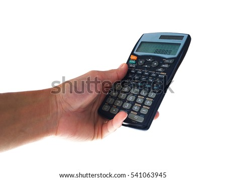 Using a hand to hold and press scientific calculator type twin power.