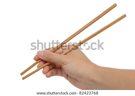 Using bamboo chopsticks WRONGLY with hand against white background