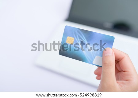 Using credit card paying online.