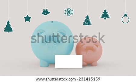using piggy money on christmas celebration with blank card at center - stock photo