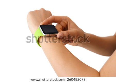 Using Touchscreen Smart Watch Isolated