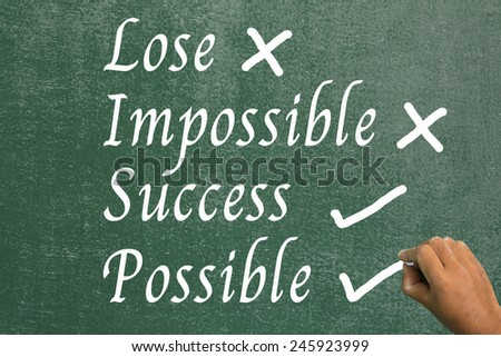 Using your hands, chalk success possible.not select impossible lose. - stock photo