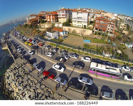 Uskudar, Istanbul. Residential housing community along Bosporus at Salacak. Aerial view of many luxury houses and busy street - stock photo
