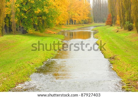 Uslava river in Pilsen City. Beautiful place in The Western Bohemia, Czech Republic, Europe. - stock photo