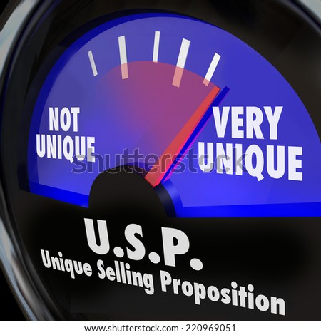 USP Unique Selling Proposition words on a guage or measurement tool measuring your level of special or different skills and abilities - stock photo