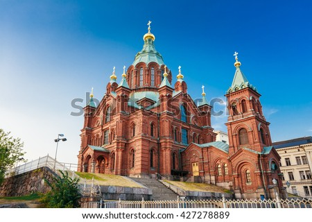 Uspenski Cathedral, Helsinki On Hill At Summer Sunny Day. Red Church. Tourist destination In Finnish Capital, Finland.