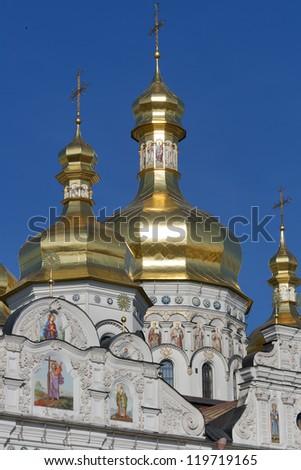 Uspenskiy (Assumption) Cathedral in Pechersk Lavra monastery in Kiev, Ukraine. UNESCO world heritage. - stock photo