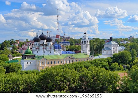 Uspensky (Assumption) Trifonov monastery with Assumption Cathedral, Belfry and St. Nicholas Gate Church in Kirov, Russia  - stock photo