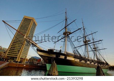 USS Constellation ship in Inner Harbor, Baltimore - stock photo