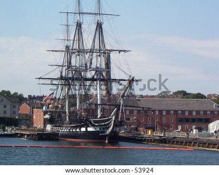USS Constitution Battleship in Boston - stock photo