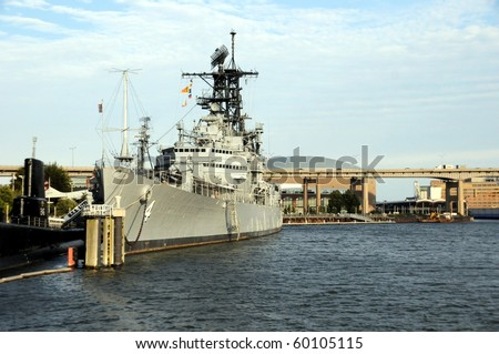 USS Little Rock-Editorial Image-USS Little Rock was a ship used during WW11 is displayed at the Naval Park Erie Basin Marina-Buffalo,New York to the left is a German submarine - stock photo