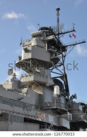 USS Missouri Battleship at Pearl Harbor in Hawaii - stock photo