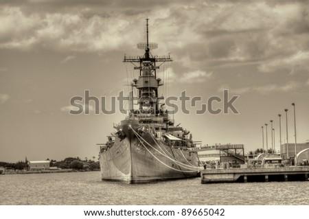 USS Missouri - decommissioned battleship USA in Pearl Harbor Hawaii - stock photo