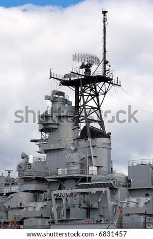 USS Missouri radar and satellite towers at midship - stock photo