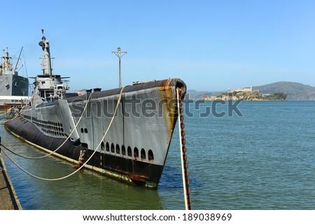 USS Pampanito (SS-383) is a World War II submarine, located at San Francisco Maritime National Park in Fisherman's Wharf, San Francisco, California, USA. - stock photo