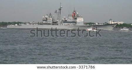 USS San Jacinto CG-56 in New York Harbor on May 23, 2007 during Fleet Week - stock photo