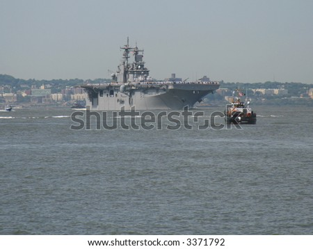 USS Wasp LHD-1 in New York Harbor on May 23, 2007 during Fleet Week - stock photo
