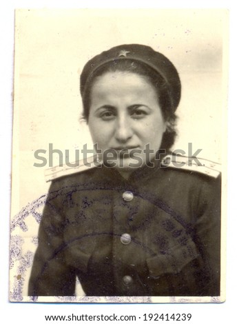 USSR - 1945: An antique studio photo of women officer, 1945, USSR - stock photo