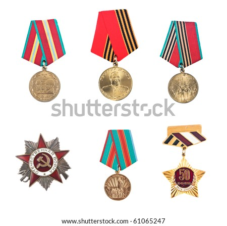 USSR badges and orders. Isolated on white. - stock photo