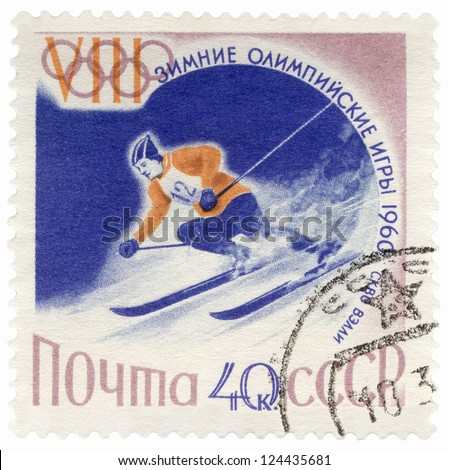 USSR - CIRCA 1960: A post stamp printed in the USSR shows skier on a steep mountain slope, dedicated to the Winter Olympic Games in Squaw Valley, series, circa 1960 - stock photo