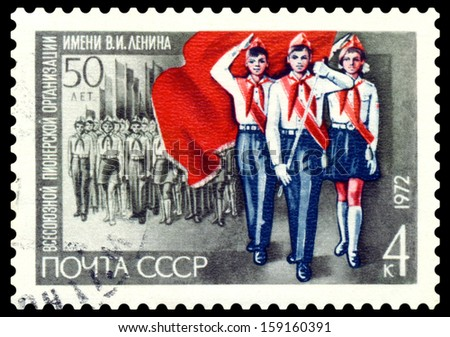 USSR-CIRCA 1972: A post stamp printed in USSR and shows Pioneers on parade, series. Circa 1972.  - stock photo