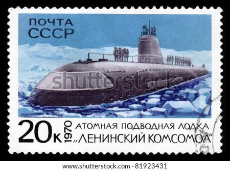 "USSR - CIRCA 1970: A post stamp printed in USSR showing soviet atomic submarine ""Leninsky Komsomol"". Circa 1970 - stock photo"