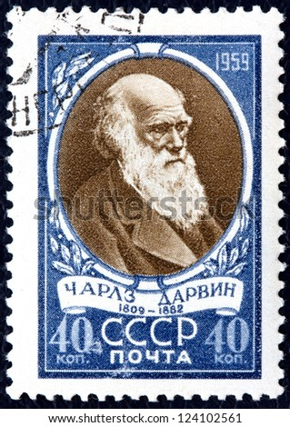 USSR - CIRCA 1959:A Postage Stamp Shows Portrait Charles Robert Darwin, circa 1959 - stock photo