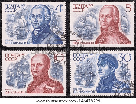 USSR - CIRCA 1987: A set of postage stamps printed in the USSR, shows portrait of Russian Admirals, circa 1987 - stock photo