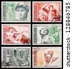 USSR - CIRCA 1975: A set of postage stamps printed in USSR shows Michelangelo, series, circa 1975 - stock photo