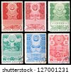 USSR - CIRCA 1970-1971: A set of postage stamps printed in USSR shows Soviet republics, series, circa 1970-1971 - stock photo