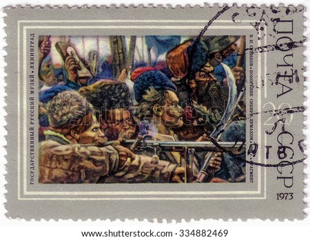 USSR - CIRCA 1973: a stamp printed by USSR shows a picture of the Conquest of Siberia by Yermak, by Vasily Surikov , The State Russian Museum. Leningrad, circa 1973. - stock photo