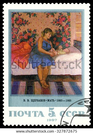 USSR - CIRCA 1987: a stamp printed by USSR  shows  picture  Mother,  by  V. Shcherbakov, circa 1987 - stock photo