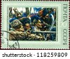 "USSR - CIRCA 1973: A stamp printed in the USSR (Russia) shows a painting ""Yermak conquering Siberia"" by Surikov with the same inscription, from series ""History of Russian Painting"", circa 1973 - stock photo"